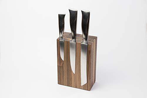 Schubica Messerblock BLOQ 701 unbestückt | Magnetblock Holz für 6 Messer | Nussbaum Messerleiste | Magnetleiste 21x14x8 cm