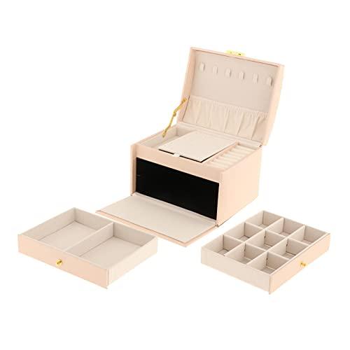 Baoblaze Caja de Almacenamiento de joyería con Forro de Terciopelo de Cuero de PU, Pendientes de Maquillaje, Cajas de baratijas Vinity, Soporte de Caja, Adorno - Rojo