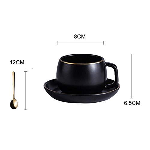 Koffiemok van verguld keramiek met schoteltje zwart goud smal met roestvrij staal 304 lepel drankwaren blue