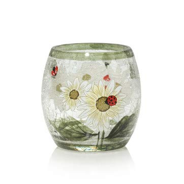 Yankee Candle Ladybug and Daisy Crackle Glass Votive/Tea Light Candle Holder