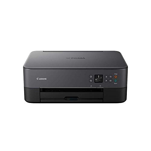 Canon PIXMA TS5350 Drucker Farbtintenstrahl Multifunktionsgerät DIN A4 (Scanner, Kopierer, OLED, 4.800 x 1.200 dpi, USB, WLAN, Duplexdruck, 2 Papierzuführungen), schwarz