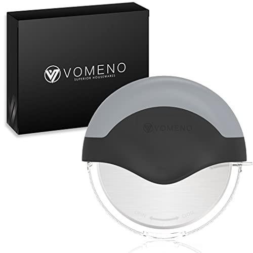 Vomeno® Premium Pizzaschneider [Edelstahl] Sehr scharf & leicht zu reinigen - Profi Pizzaroller mit integriertem Klingenschutz