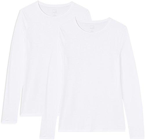 Marchio Amazon - MERAKI T-shirt Girocollo a Manica Lunga Donna, Bianco (White/White), 42, Label: S