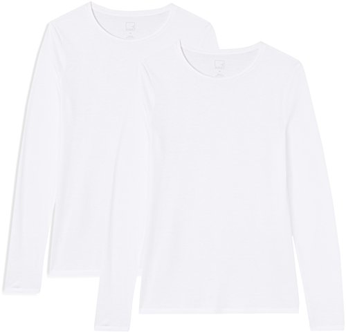 Marca Amazon - MERAKI Camisetas, Mujer, Blanco (White/White), M, Pack de 2