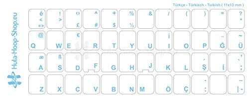 Türkische Tastaturaufkleber, transparent, laminierte matte Oberfläche, für Standard Tastaturen, Made in Germany, Hellblau