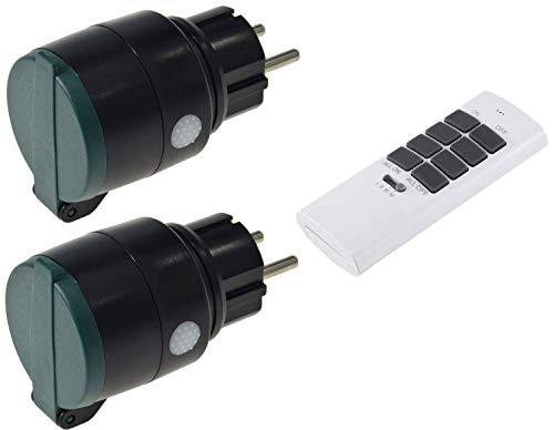 Funk Steckdosen Set Aussen IP44 mit Fernbedienung 2x Schutzkontakt-Steckdose mit Deckel Handsender 30m Reichweite