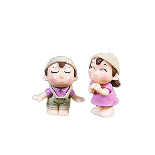 Steellwingsf 2 pcs garçon Fille Enfants Couple Miniature Ornement Craft DIY Paysage Dollhouse Décor extérieur, Plastique, Rose, Taille Unique