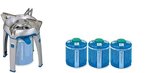 ALTIGASI Réchaud à gaz Bivouac Campingaz Puissance 2600 W avec Sac de Transport - Système de Cartouche Amovible + 3 Cartouches à gaz CV470 de 450 g