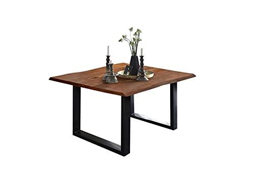 SAM Esszimmertisch 80x80 cm Billy, echte Baumkante, Esstisch aus Akazienholz massiv + nussbaumfarben, Baumkantentisch mit U-Gestell Schwarz