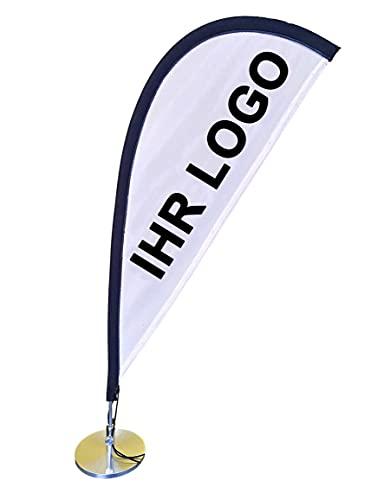 Hochwertige Tischfahne 46 cm individuell bedruckt | Mini Beachflag mit Logo Bedruckung