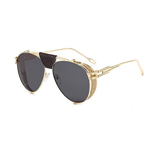Gafas De Sol Mujeres Retro Plegable Steampunk Gafas De Sol Diseñador PU Cuero Rivet Punk Sun Glasses Uv400