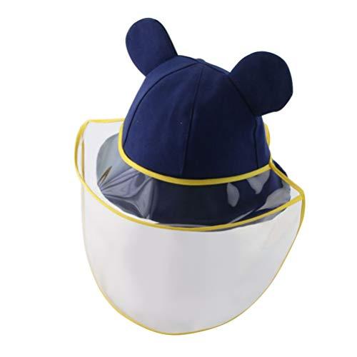 PRETYZOOM Niños Careta Sombrero Lindo Oso Orejas Diseño Cubierta de La Cara a Prueba de Salpicaduras Antiniebla Protector de Cara Gorra para Protección Al Aire Libre (Azul Marino)