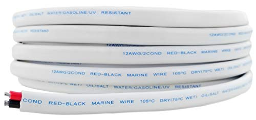 12 AWG Tinned OFC Copper Duplex 12/2 Red & Black Sheathed Marine Boat Wire | Cable Length: 50 Feet (Also Available in 100 ft)