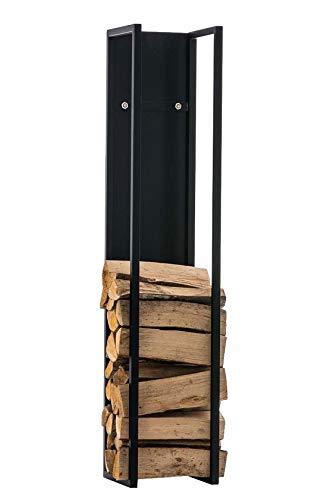 CLP Kaminholzregal Spark I Brennholzregal Aus Edelstahl I Holzbutler In 6 Größen Und 3 Farben Erhältlich, Farbe:schwarz-matt, Größe:100 cm