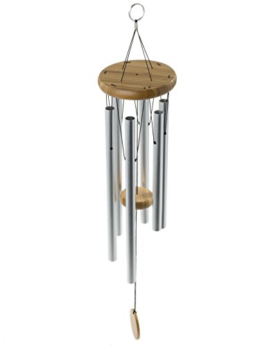 "Brooklyn Basix Freedom Chime for Patio, Garden, Terrace and Balcony - Beautiful Outdoor Decor - Easy to Install Wind Chimes - Durable and Hand Tuned (Natural/Matte Silver, Medium 29"")"