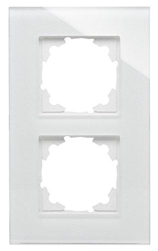 Kopp Glas-Abdeckrahmen 2-Fach reinweiß für Schalterprogramm Athenis und HK07 405402001, weiß