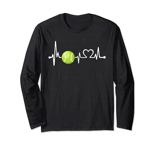 Divertido regalo de entrenador de tenis y jugador | Love Tennis Heartbeat Manga Larga