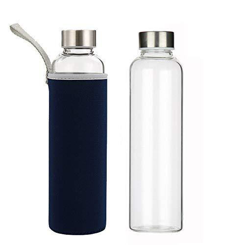 Slosh Bottiglia Vetro Acqua Borraccia Sport Tazza Viaggio Senza BPA 550ML (Nero 0,55L)