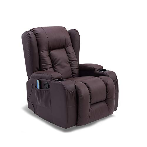 furniture-uk-shop Stunning Caesar Leather Armchair Recliner Chair Rocking Massage Swivel Heated Sofa (brown)