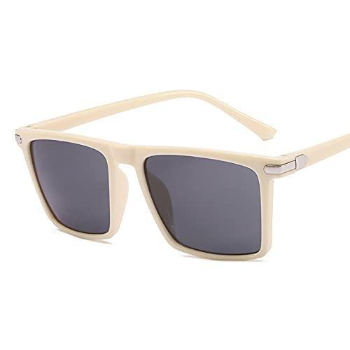 Gafas de Sol Gafas De Sol Cuadradas para Hombre Y Mujer, Gafas De Sol De Moda Retro para Hombre, Gradiente Vintage Uv400, Gafas Unisex C2Beige