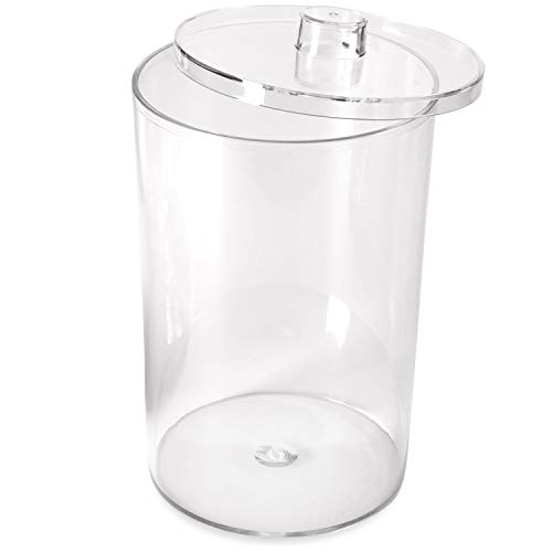 MABIS Decorative Storage Apothecary Clear Plastic Jar for Kitchen, Bathroom or Laundry Organization with Plastic Lid, 4.1 x 4.2 x 7 inches