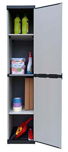 Adventa Armadio- Armario de resina de 1 puerta con estantes regulables (interior/exterior), gris/negro, 34 x 39,5 x 85 cm
