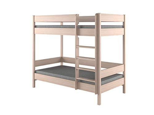 Children's Beds Home Etagenbetten - Kinder Kinder Junioren Single ohne Matratze und ohne Schubladen (180x90, Eiche hell)