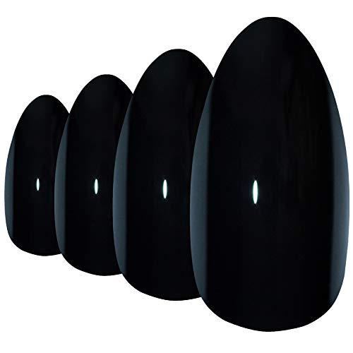 Faux Ongles Bling Art Noir Poli Stiletto 24 Longue Faux bouts d'ongles acrylique avec colle