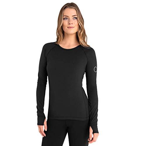 Calvin Klein Damen Vibe Longsleeved Daumenloch Scoop Neck T-Shirt - Schwarz - L