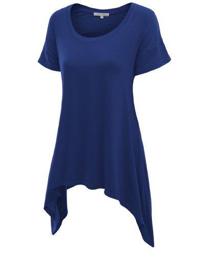 Doublju Womens Short Sleeve T-shirt with Unique Hem Line BLUE Large