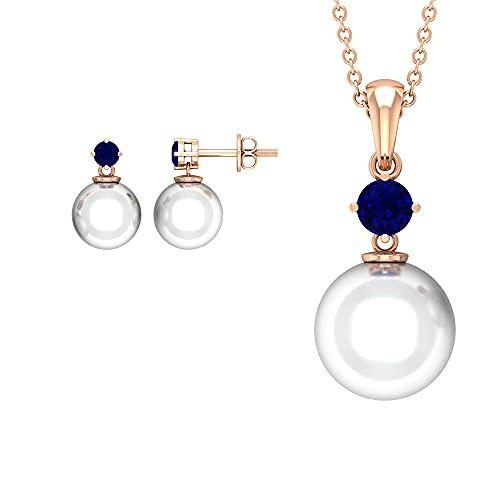 Juego de joyas mínimas de 16.75 CT para mujer con zafiro azul y perla de agua dulce (calidad AAA) azul