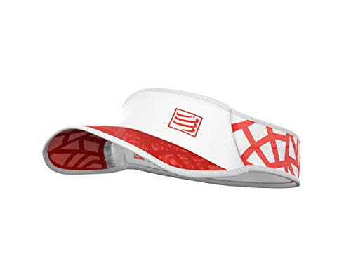 COMPRESSPORT Spiderweb Ultralight Visor, Visiera da Corsa Unisex-Adult, Rosso/Bianco, TU EU