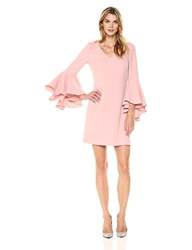 Eliza J womensEJ7M6609V-neck Shift Dress with Bell Sleeves Long-Sleeve Dress - Pink - 10
