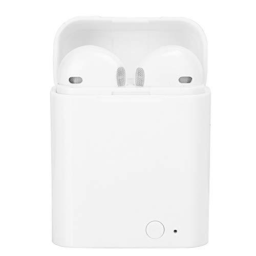 Auriculares inalámbricos Bluetooth con estuche de carga, Auriculares portátiles con emparejamiento automático con señal estable de sonido estéreo, Auriculares inalámbricos verdaderos(blanco negro)