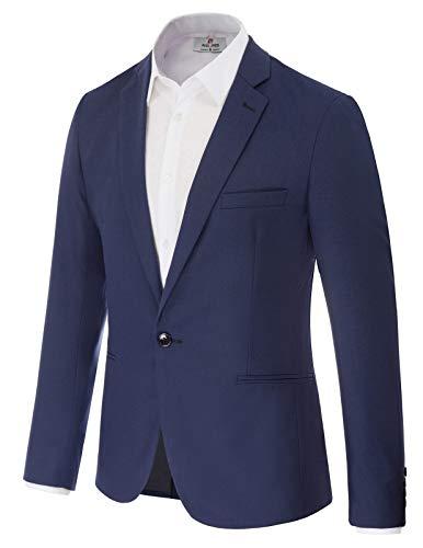 Men's One Button Blazer Jacket Party Suit Blazer Size M Navy Blue