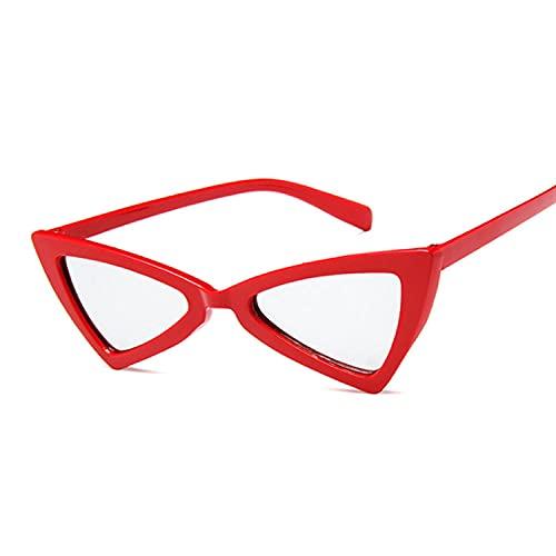 YHKF Gafas De Sol De Ojo De Gato para Mujer, Gafas De Sol Vintage para Mujer, Gafas De Sol Retro Sexis para Mujer, Uv400-Red_Silver