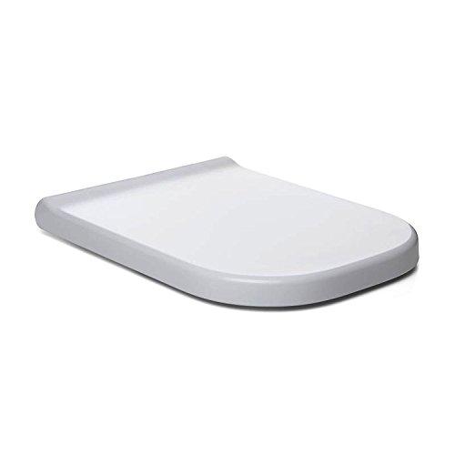 Sanixa TA4403701 Toilettendeckel Weiß Toiletten-Sitz eckig | Absenkautomatik | abnehmbare Scharniere| WC-Sitz | Klositz | Klodeckel antibakteriell