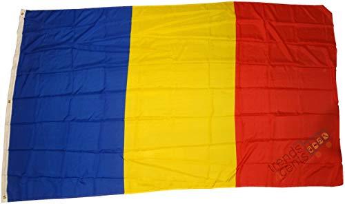 Qualité supérieure - Drapeau Roumanie 250 x 150 cm - Extrêmement indéchirable - Pas de porcelaine pas chère Poids: environ 100 g / m2, très résistant, oeillets en laiton extra-forts