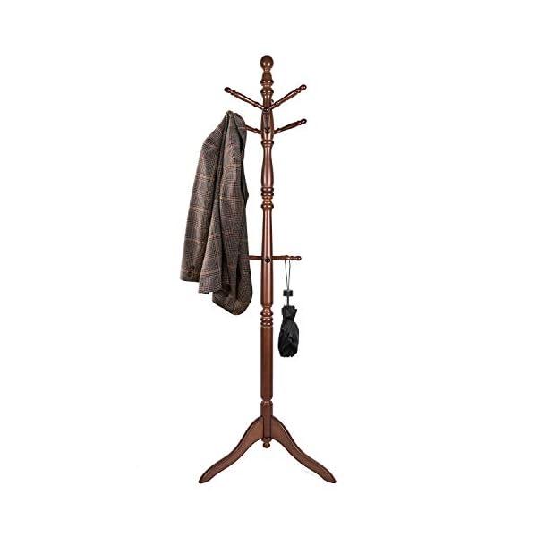 Vlush Free Standing Coat Rack, Wooden Coat Hat Tree Coat Hanger with Solid Rubber...