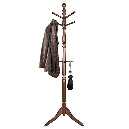 Vlush Free Standing Coat Rack, Wooden Coat Hat Tree Coat Hanger Holder Coat Hook Entryway Hall Tree with Solid Rubber Wood Base, 10 Hooks, Coffee