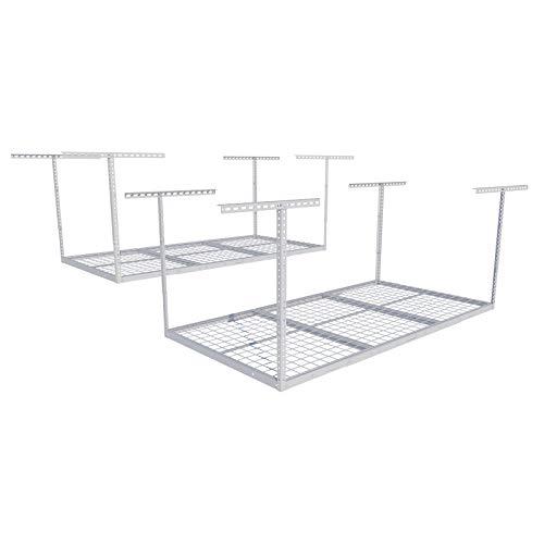 FLEXIMOUNTS 2 pcs 3x6 Overhead Garage Adjustable Ceiling Storage Rack, 72' Length x 36' Width x 40' Height (2-Rack-Package White)