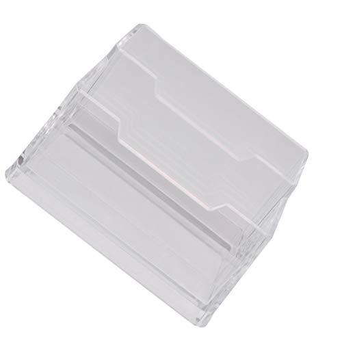 TOPBATHY - Tarjetero de acrílico para tarjetas de visita, doble cubierta, transparente, caja de almacenamiento para tarjetas de escritorio, expositor organizador de suministros de oficina