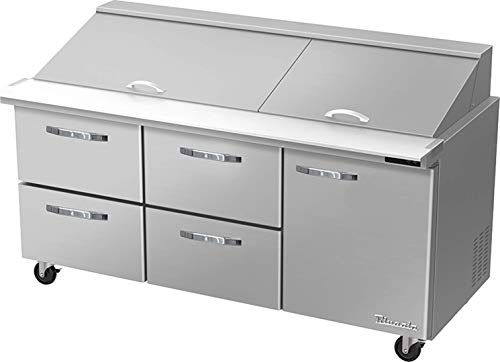 Blue Air BLMT72-D4LM-HC 4 Drawer 1 Right Door 72 inches Mega Top Refrigerated Sandwich/Salad Prep Table, 20.2 cu. ft