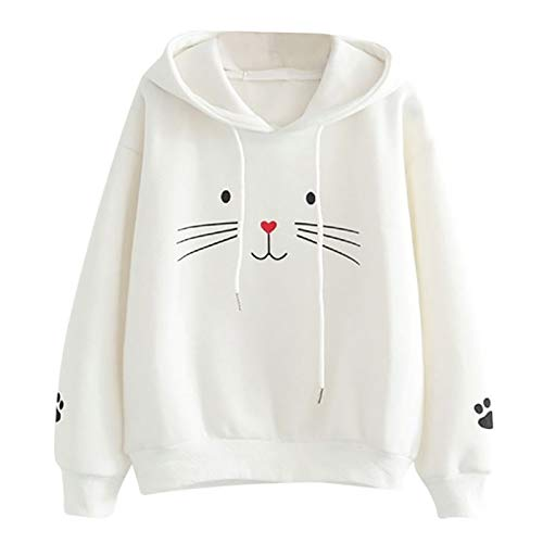 WYZTLNMA 2020 New Hoodies with Ear Sweatshirt for Women Autumn and Winter Warm Top Female Cat Printed Hoodie Sweatshirt White
