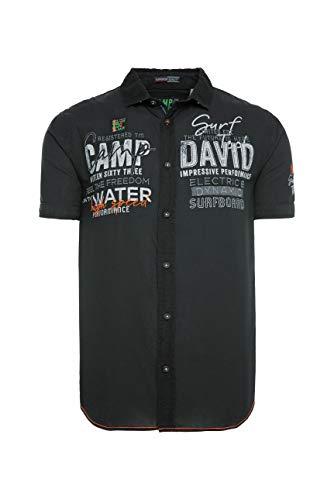 Camp David Herren Leichtes Kurzarmhemd mit Label-Applikationen