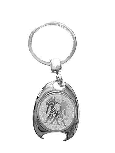 Sterrenbeeld tweeling motief sleutelhanger, zilverkleurig, in elegante geschenkdoos met winkelwagenchip en flesopener | Cadeau | Mannen | Vrouwen | Sport | Chip | Boodschappenschip | Opener