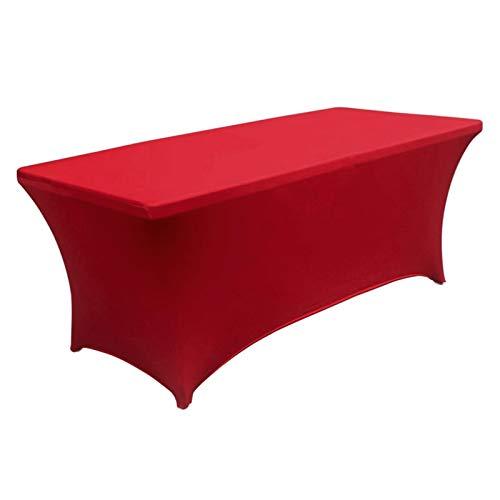 Prettyia Mantel Elástico Spandex Manta Manteles Rectangulares de 6 Pies para Mesas de Poste - Rojo, Individual