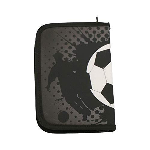 Real Republic Federmäppchen, Praktische Federmappe (ohne Inhalt) für Jungen in der Einschulung - Federtasche für die Schule - Schwarz mit Fußball-Muster, 20,5 x 14 x 4 cm.