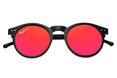 Capraia Timorasso Festival Runde Vintage Sonnenbrille Ultraleichte TR90 Shiny Black Frame und rot verspiegelte polarisierte Gläser UV400 geschützte Herren Damen