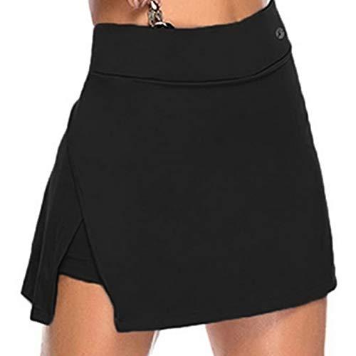 Shujin Falda de tenis para mujer 2 en 1, para deporte, golf, hockey y fitness, yoga, elástica, de secado rápido, color negro, 5XL